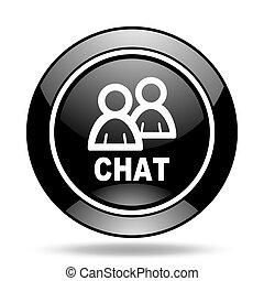 chat black glossy icon