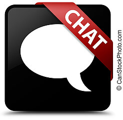 Chat black square button red ribbon in corner