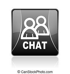 chat black square web glossy icon