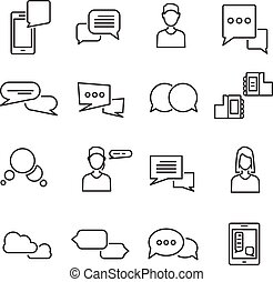 Chat Black White Linear Icons Set
