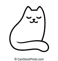 chat blanc, dessin, dessin animé