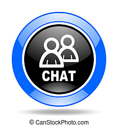 chat blue and black web glossy round icon
