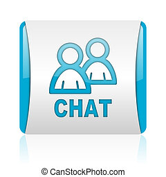 chat blue and white square web glossy icon