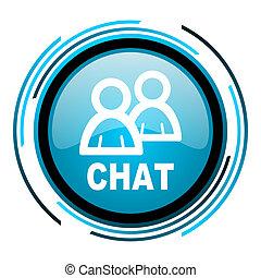 chat blue circle glossy icon