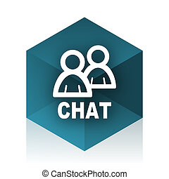 chat blue cube icon, modern design web element