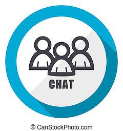Chat blue flat design web icon