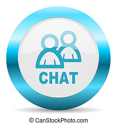 chat blue glossy icon