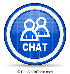 chat blue glossy icon on white background