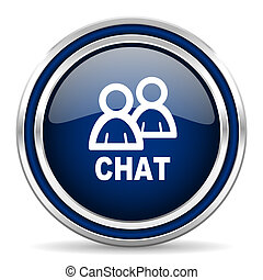 chat blue glossy web icon
