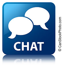 Chat blue square button
