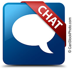 Chat blue square button red ribbon in corner