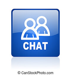 chat blue square glossy web icon on white background