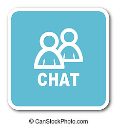 chat blue square internet flat design icon