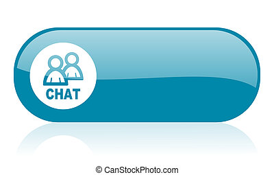 chat blue web glossy icon