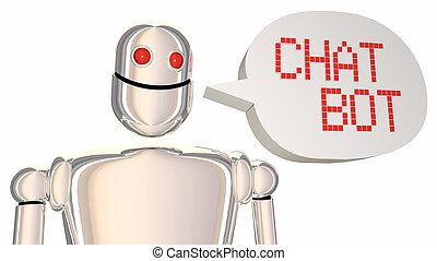 Chat Bot Automated Discussion Robot Speech Bubble 3d Illustration