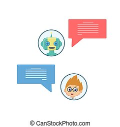 Chat bot chating - Background with speech bubbles and chat...
