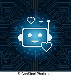 Chat Bot Face Icon Heart Shape Robot Over Blue Circuit Motherboard Background