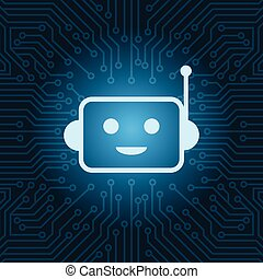 Chat Bot Face Icon Smiling Robot Over Blue Circuit Motherboard Background