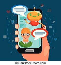 Chat Bot Flat Composition - Chat bot flat composition with...