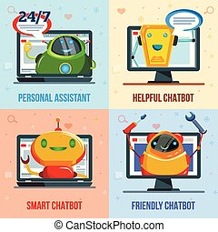 Chat Bot Flat Design Concept - Personal assistant, helpful,...