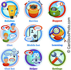 Chat Bot Flat Icons - Chat bot flat icons with automatic...