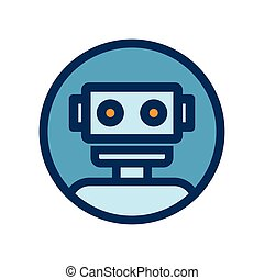 Chat bot icon. Outline robot sign in blue circle. Vector illustration. Voice support service bot. Virtual online support