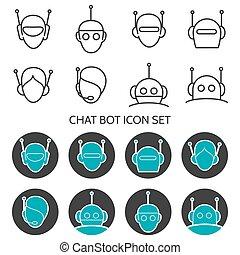 Chat bot icon set