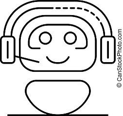 Chat bot in headphones icon, outline style