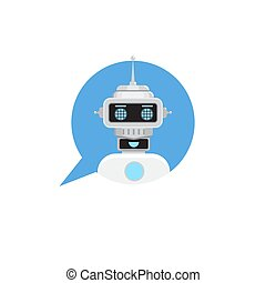Chat bot in speech bubble. Support service Robot icon. Vector illustration in flat style.