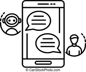 Chat bot talk smartphone icon, outline style