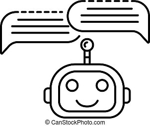 Chat bot two bubbles icon, outline style