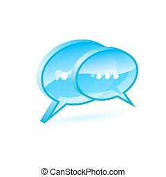 Chat box - Illustration of a blue chat box icon isolated on...