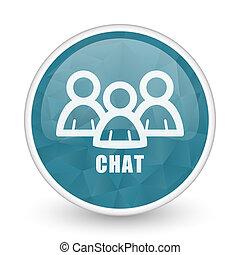 Chat brillant crystal design round blue web icon.