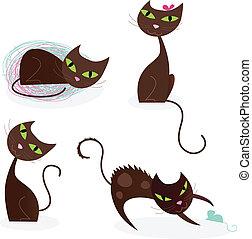 chat brun, série, dans, divers, poses, 2
