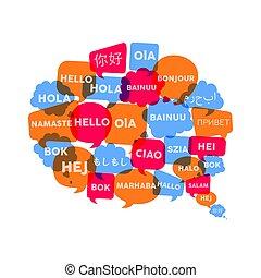 Chat bubble concept for language translation idea