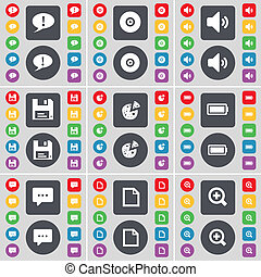 Chat bubble, Disk, Sound, Floppy, Pizza, Battery, Chat bubble, File, Magnifying glass icon symbol. A large set of flat, colored buttons for your design.