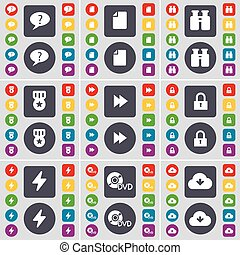 Chat bubble, File, Binoculars, Medal, Rewind, Lock, Flash, DVD, Cloud icon symbol. A large set of flat, colored buttons for your design. Vector