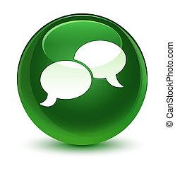 Chat bubble icon glassy soft green round button