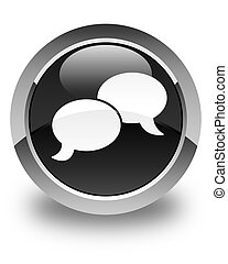 Chat bubble icon glossy black round button