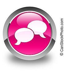 Chat bubble icon glossy pink round button