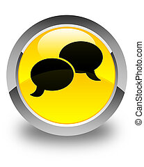 Chat bubble icon glossy yellow round button