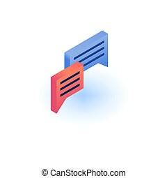 Chat bubble icon, isometric style