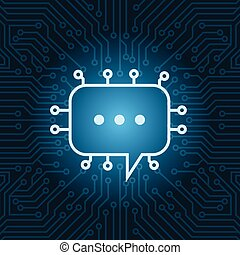 Chat Bubble Icon Over Blue Circuit Motherboard Background
