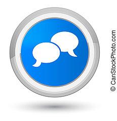 Chat bubble icon prime cyan blue round button
