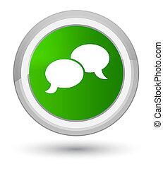 Chat bubble icon prime green round button