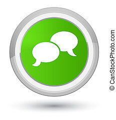 Chat bubble icon prime soft green round button