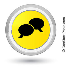 Chat bubble icon prime yellow round button