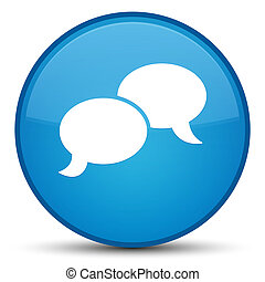 Chat bubble icon special cyan blue round button