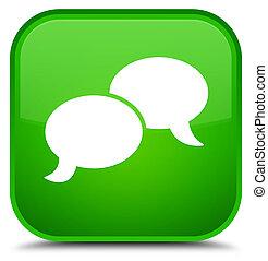 Chat bubble icon special green square button