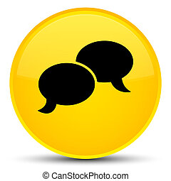 Chat bubble icon special yellow round button